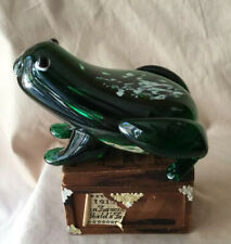 Adorable Vintage Mcm Murano Hand Blown Art Glass Animal Green Spotted Frog
