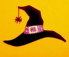 """3"""" Halloween Black Witch Hat Cricut Die Cut Handmade With Cardstock."""
