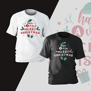 Have A Merry Christmas Santa Hat Xmas T-Shirt Present Gift Kids Mens Unisex Tee