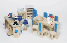 Puppenhausmöbel KÜCHE 30-teilig aus Holz Puppenhaus Einrichtung Puppenmöbel NEU