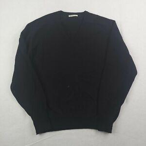 """Johnstons Of Elgin 100% Cashmere Sweater Mens Size 50"""" 127cm V-Neck Black Jumper"""