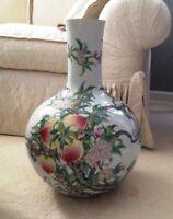 Chinese Famille Rose 'Nine Peaches' SignedOrientalHand-PaintedBottle Vase