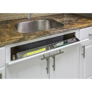 """SET OF 2 - 14"""" STAINLESS STEEL KITCHEN CABINET SINK TIP TILT OUT TRAY & HINGES"""