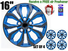 "16"" inch Hubcaps CAR+ ""SPA"" ABS BLUE AND BLACK (4 pieces) Wheel Covers R16"