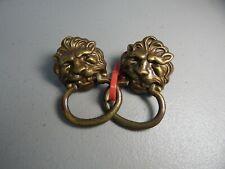 "Vintage! Pair of 2"" Bronze Lion Head Draw Pulls #1358"