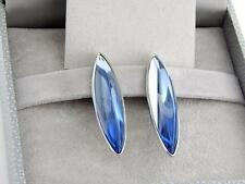 LALIQUE ECLAT BLUE CIEL ARGENTCLIP EARRINGS CRYSTAL REF.6657500 RETAIL $450
