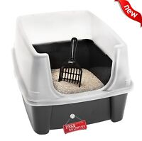 Clean Pet Cat Kitty Open Top Large Cats Litter Box with Shield and Scoop Black