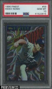 1996 Finest 59 Hideo Nomo RC Rookie Los Angeles Dodgers PSA 10 GEM MINT