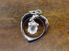 Vintage silver April Movable Dangling Cz Birthstone Heart charm Jmf #F