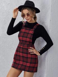 Zip Side Tartan Pinafore Dress