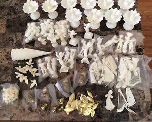 Vintage Large Lot Of WEDDING CAKE DECORATING Wilton Angels Fountain Doves Bells+