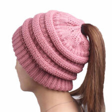 Women's Girl Stretch Knit Hat Messy Bun Ponytail Beanie Holey Warm Hats Winter