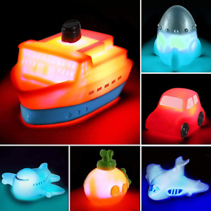 6 packs Light up Boat Bath Toy Set, Flashing Color Changing Light in Water, Toys