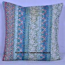 """Decorative Beautiful Floral Kantha Handmade 16"""" Cotton Cushion Cover Pillow Case"""