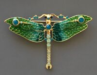 Unique Dragonfly  brooch n enamel on metal.with crystals