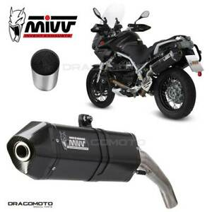 Exhaust MOTO GUZZI STELVIO 2014 2015 Speed Edge MIVV Steel Black + Kat