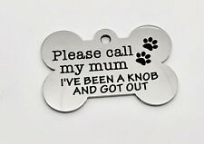 More details for engraved pet dog id disc tag tags. stainless steel. 38mm bone. free delivery