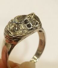 Sterling Silver Sleeping Cat Ring Size Q