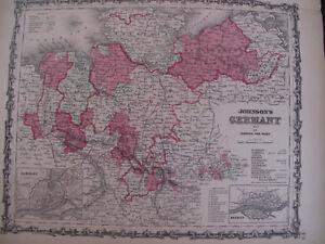 Hand Colored Map Johnson's Atlas Germany Hamburg Hanover German Europe 1863