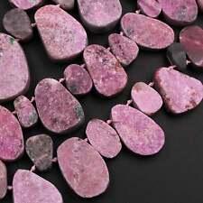 "Natural Pink Cobalto Calcite Drusy Teardrop Focal Pendant Beads 16"" Strand"