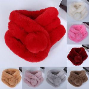 Womens Ladies Autumn Winter Warm Faux Fur Fluffy Collar Scarf Shawl Wrap Scarves