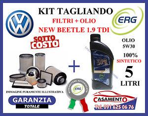 KIT TAGLIANDO 4 FILTRI VW NEW BEETLE 1.9 TDi + 5 LITRI OLIO ERG 5W30