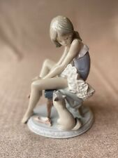 "Lladro #5689 Porcelain Ballerina With Cat Figurine ""Can I Help"" Hand-crafted"