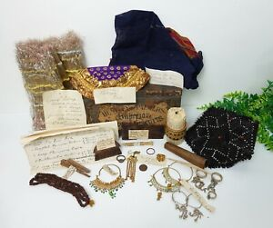 Collection 19th century Indian & Burmese artefacts - Jewellery, wooden combs etc