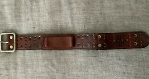 "Vintage 1"" Wide Leather Cuff Biker  Band Buckle Strap Brown 70s Hippie BOHO  NR!"