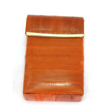 Eel Leather Cigarette Case Tobacco Lighter holder hard case Brown