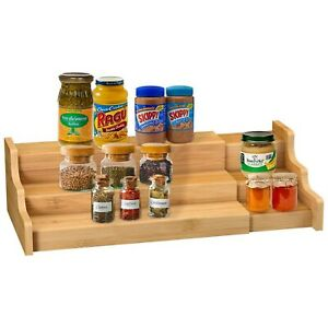 Spice Rack Kitchen Cabinet Organizer- 3 Tier Bamboo Expandable Display Shelf