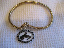 HORSE HEAD charm BRACELET reverse carved & painted vintage glass intaglio