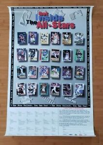 """Vintage 1998 """"The Pros Collect"""" Poster - NFL/MLB/NBA Sports Trading Cards 34x20"""