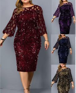 Women Summer Sequin Ladies Sparkle Gliter Ladies Midi Dresses Size 6-22 E8098