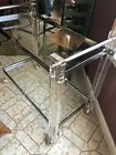 Mid Century Modern Lucite Chrome Table Furniture Tea Cart Liquor Push Wheels