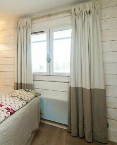 """Ivory Natural 100% Irish Linen Weighted Cotton Lined Curtains 113"""" L x 55"""" Wide"""