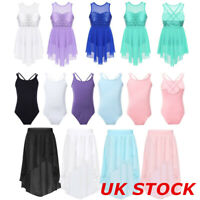 Girls Ballet Dance Leotards Dress Skirt Bodysuit Skating Kids Dancewear Costume