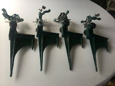 Green Metal Stake Lawn Sprinklers Set Of 4 - Continuous Rotating Euc