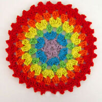 4Pcs/Lot Vintage Hand Crochet Doilies Round Lace Doily Flower Coaster Rainbow 4""