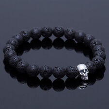 Fashion Men's White Gold Plated Skull Lava Stone Gemstone Beaded Charm Bracelet