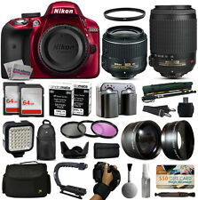 Nikon D3300 Red DSLR Camera + 18-55mm VR II + 55-200mm vr + 128GB Premium Kit