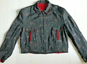 Vintage 40s Mens Reversible Rayon Gabardine Rockabilly Grey Red Zip Jacket