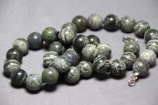 "Zebra Jasper Gray Gemstone Necklace Silk Knotted Hand tied 10mm Ball 17.50"" Grey"