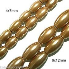 MAGNETIC HEMATITE BEADS PEARL GOLD 6X12 OVAL HIGH POWER BEAD STRANDS HPR4