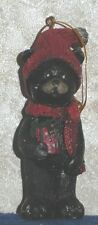"""BLACK BEAR with PRESENT Vintage Look Christmas Tree Hanging Ornament 4"""" Tall"""