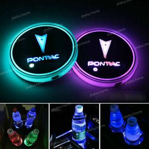 2x RGB Colorful LED Car Cup Holder Pad Mat For Pontiac Emblem Light Atmosphere