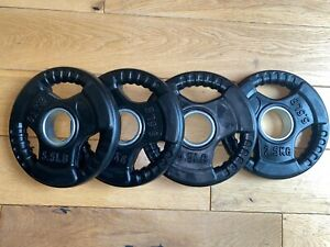 """4 x 2.5kg Rubber Coated Weight plates, Tri-grip fit 50mm 2"""" Olympic Bar Gym 20kg"""