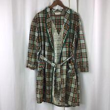 04487f5972 Vintage Fruit of the Loom Mens Robe Orange Green Flannel Plaid Size M