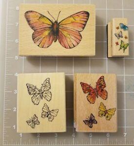 4 Monarch Papillon Bois Monté Caoutchouc Art Artisanat Timbres Pain de Sucre