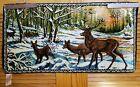 Vtg 1965 Elk Buck Stag Deer Wall Tapestry Hunting Camp Mancave Cabin Decor 39x20